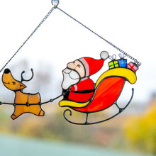 Load image into Gallery viewer, Zoomed stained glass Santa's reindeer team suncatcher