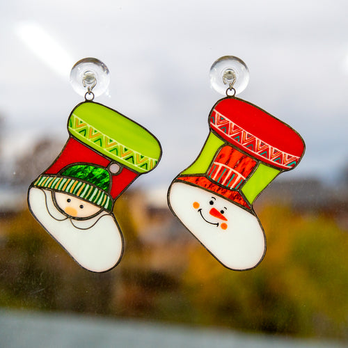 Two stained glass Christmas stockings suncatchers for window decor