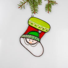 Load image into Gallery viewer, Stained glass Christmas stocking for Christmas window decor