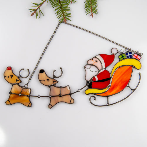 Stained glass Santa's reindeer team suncatcher for Christmas decor