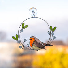 Load image into Gallery viewer, Stained glass robin bird with the mistletoe of wire suncatcher