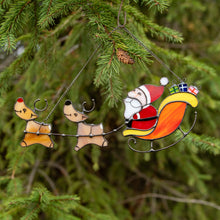 Load image into Gallery viewer, Stained glass Santa's reindeer team suncatcher used as a New Year Tree decoration