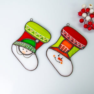Set of two stained glass Christmas stockings