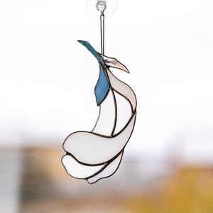 Stained glass white feather suncatcher with blue parts