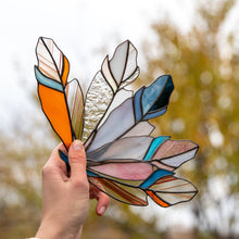 Load image into Gallery viewer, Five stained glass feathers suncatchers