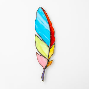 Stained glass colourful feather suncatcher
