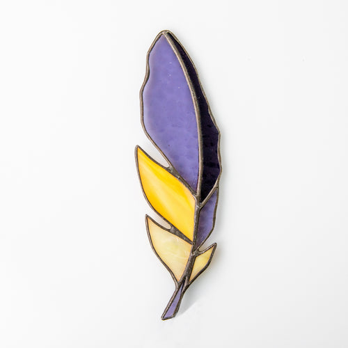 Stained glass purple and yellow feather suncatcher for window decoration