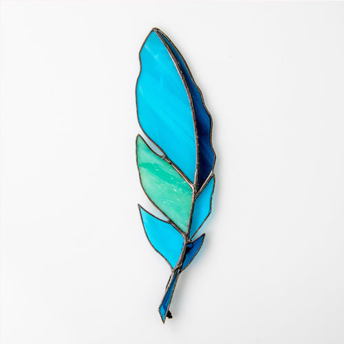 Aquamarine stained glass feather suncatcher for window decoration