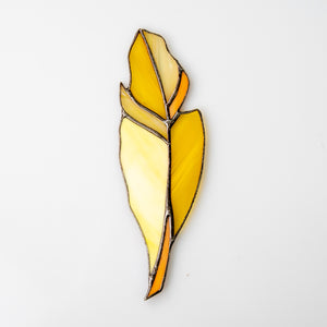 Stained glass yellow feather suncatcher for window decor