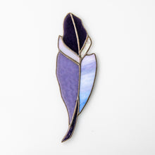 Load image into Gallery viewer, Purple stained glass feather suncatcher for home window decor