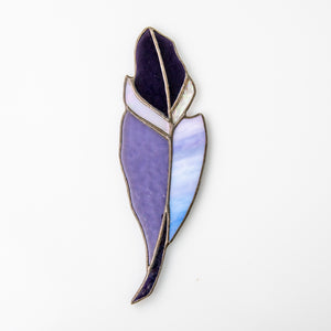 Purple stained glass feather suncatcher for home window decor