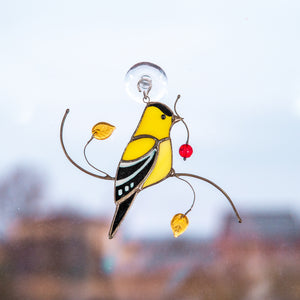 Bright goldfinch bird stained glass window suncatcher