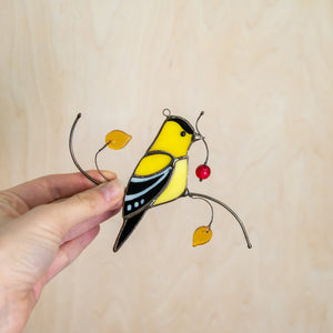 Bright stained glass goldfinch suncatcher for window decor