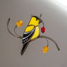 Load image into Gallery viewer, Stained glass goldfinch sitting on the branch with leaves and berries window hanging