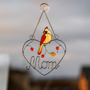 Stained glass personalised for mom cardinal window hanging