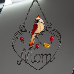 Personalised for mom cardinal suncatcher of stained glass