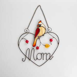 Stained glass female cardinal on wired heart suncatcher