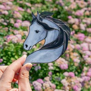 Stained glass horse portrait suncatcher
