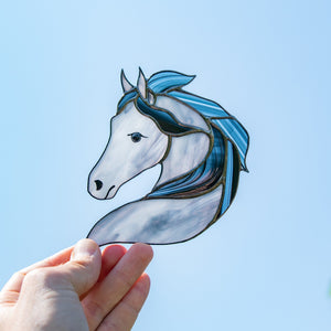 Stained glass horse portrait window hanging