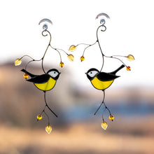 Load image into Gallery viewer, Black chickadee of stained glass suncatcher for window decoration