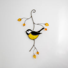 Load image into Gallery viewer, Stained glass black chickadee suncatcher