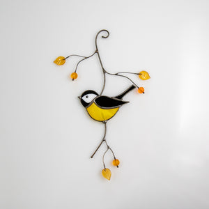 Stained glass black chickadee suncatcher