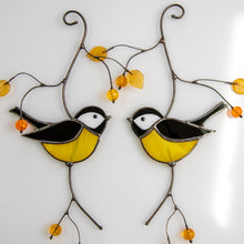 Load image into Gallery viewer, Pair of black chickadees of stained glass suncatcher