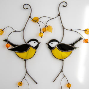 Pair of black chickadees of stained glass suncatcher