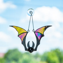 Load image into Gallery viewer, Stained glass Halloween bat with iridescent wings window hanging