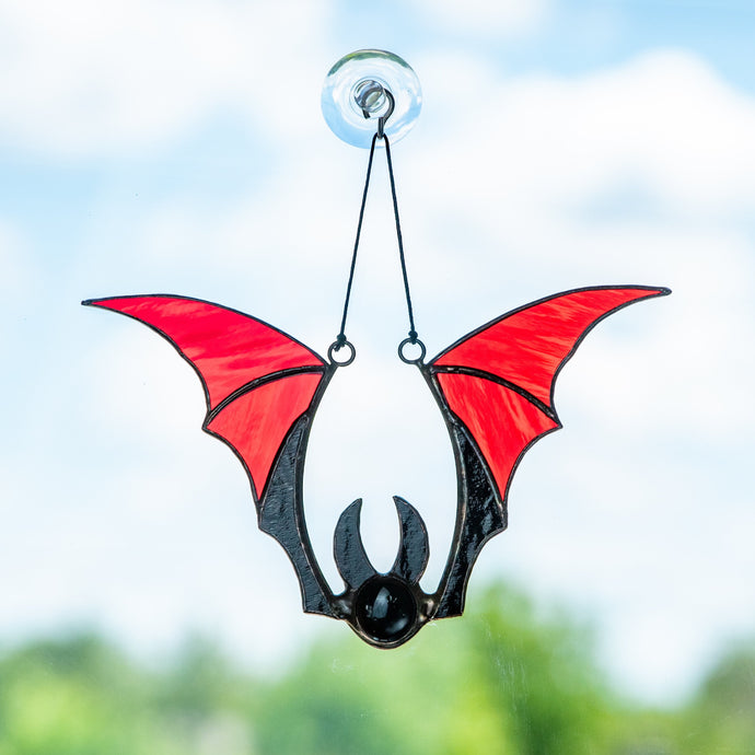 Horror red bat window hanging of stained glass