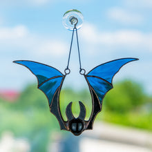 Load image into Gallery viewer, Blue bat Halloween suncatcher for spooky decoration