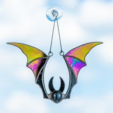 Load image into Gallery viewer, Stained glass bat with iridescent wings horror window hanging