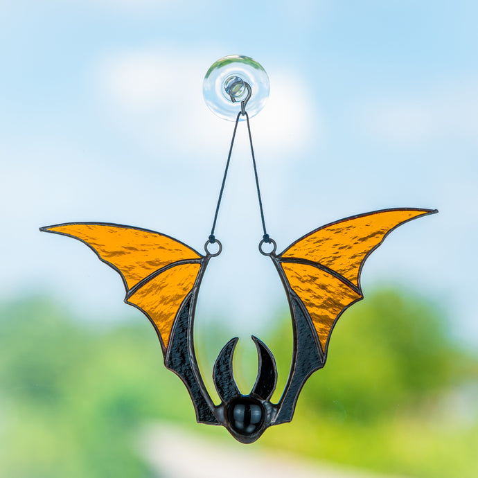 Brown bat spooky stained glass suncatcher