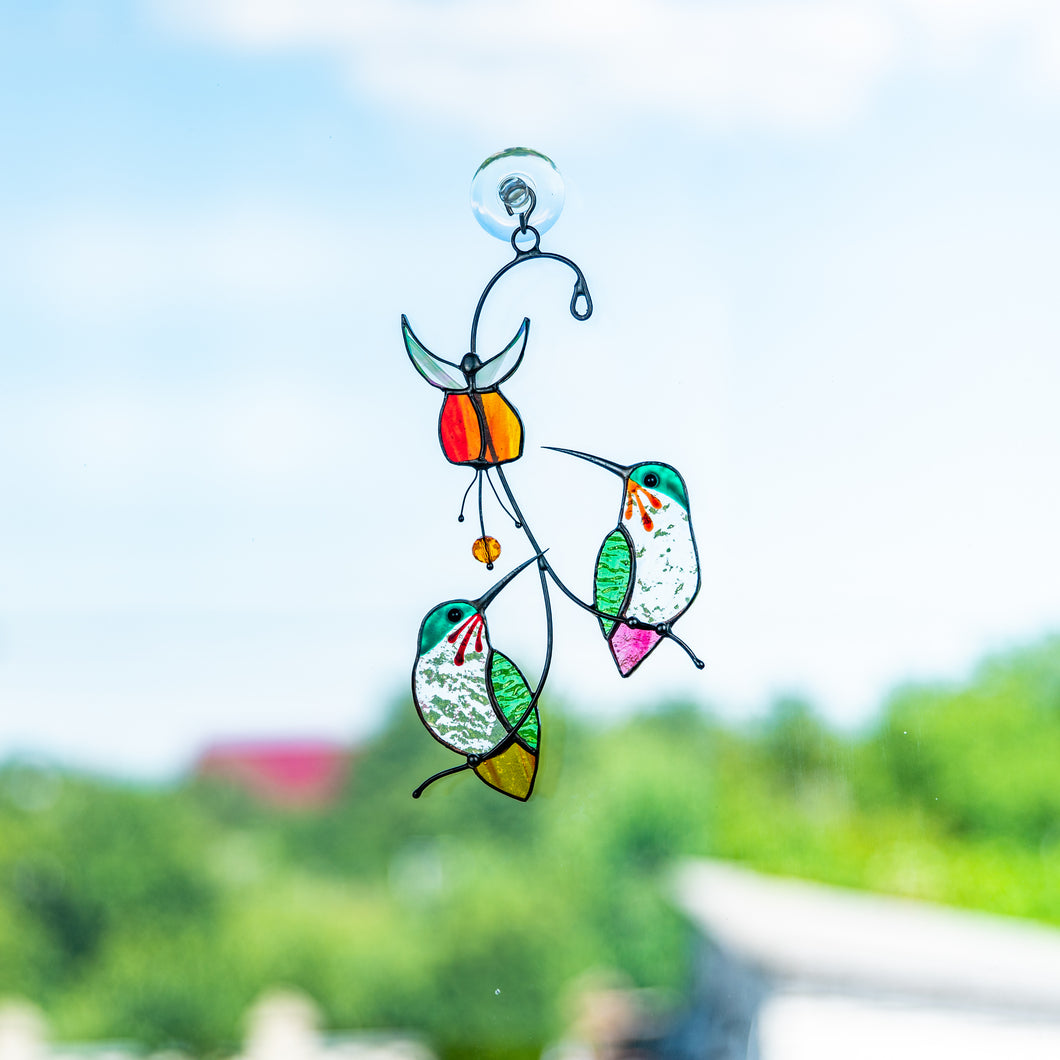 Stained glass hummingbirds with red flower window hanging suncatcher