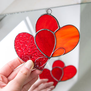 Bright Valentines day gift suncatcher of stained glass heart