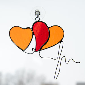 Stained glass two hearts with wired heartbeat window hanging