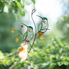 Load image into Gallery viewer, Stained glass pair of hummingbirds window hanging
