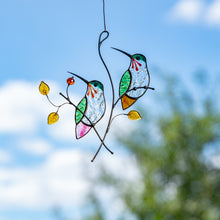 Load image into Gallery viewer, Pair of stained glass hummingbirds on the branch with leaves and berries window hanging
