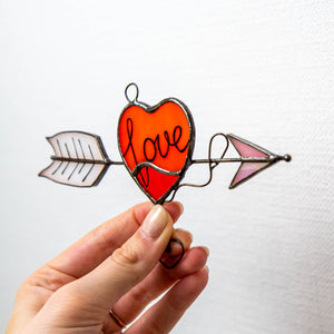 Heart with arrow suncatcher for Valentines Day celebrations