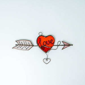Red heart with an arrow suncatcher made of stained glass