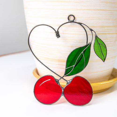 Stained glass cherries in the shape of heart suncatcher for window decor