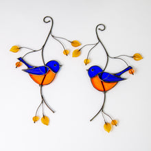 Load image into Gallery viewer, Pair of bluebirds sitting on the branch with leaves and berries stained glass suncatcher