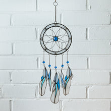 Load image into Gallery viewer, Light-blue stained glass dreamcatcher with blue feathers for home decor