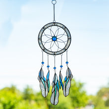 Load image into Gallery viewer, Stained glass light-blue flower-shaped dreamcatcher with feathers of different shades of blue