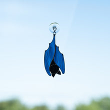 Load image into Gallery viewer, Suncatcher of a stained glass blue sleeping bat