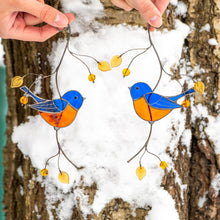 Load image into Gallery viewer, Stained glass pair of bluebirds sitting on the branch suncatcher