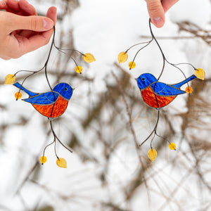 Pair of blue chickadees of stained glass suncatcher