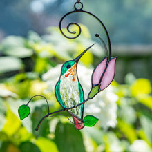 Load image into Gallery viewer, Stained glass hummingbird on the branch with pink flower suncatcher