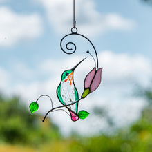 Load image into Gallery viewer, Stained glass hummingbird with pink flower suncatcher for home decor