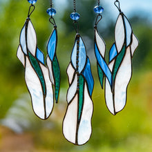 Load image into Gallery viewer, Zoomed stained glass feathers of light-blue suncatcher